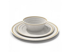 Porcelain dishes dinner plate 3d preview