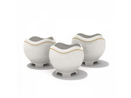 Porcelain Sugar and Creamer Pots 3d preview