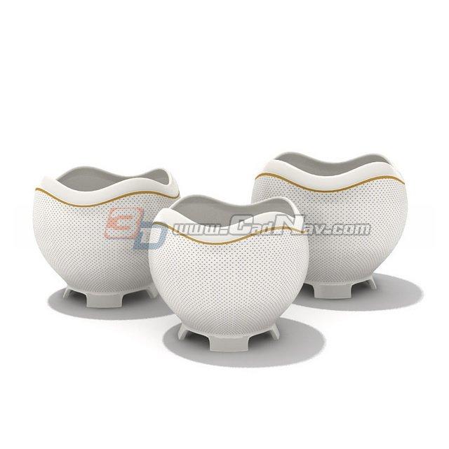 Porcelain Sugar and Creamer Pots 3d rendering