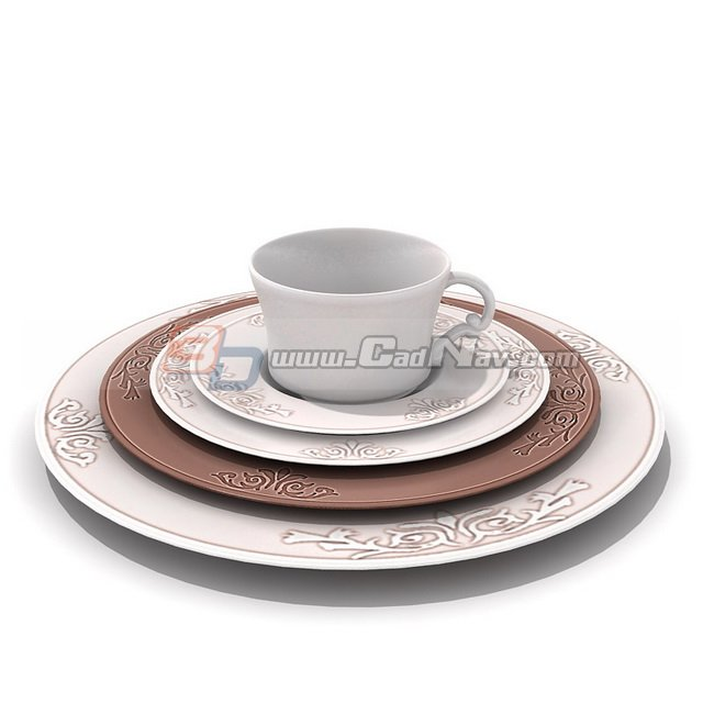 Printed Ceramic Plate and Cup 3d rendering