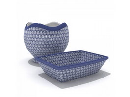 Tableware blue white porcelain jar and plate 3d preview