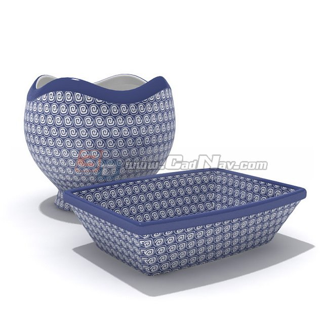 Tableware blue white porcelain jar and plate 3d rendering