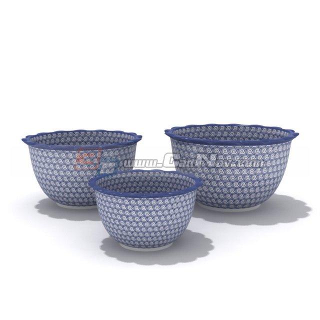 Blue and white porcelain dinnerware Tureens 3d rendering