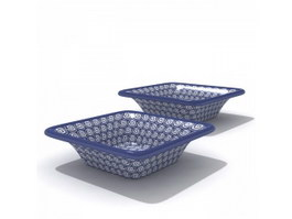 White And Blue Porcelain Salad Plates 3d preview