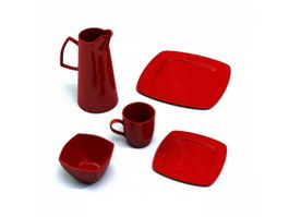 Dinnerware Sets Ceramic Plates and Drinkware 3d preview