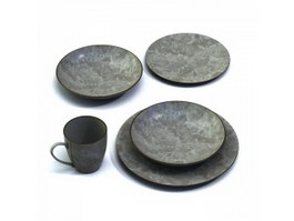 Antique porcelain flat plates and cup 3d preview