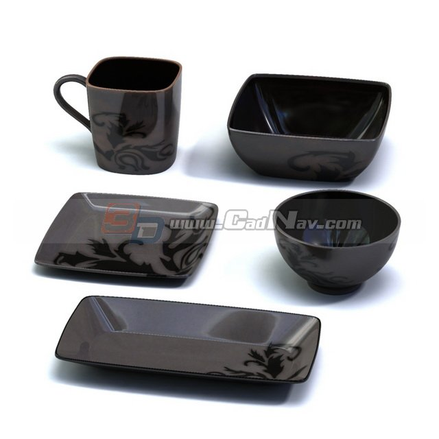 Clay Tableware set Bowl Cup and Plates 3d rendering
