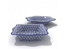 Blue and white ceramic fruit plate 3d preview