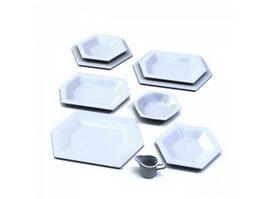 Hexagonal ceramic plates set 3d model preview
