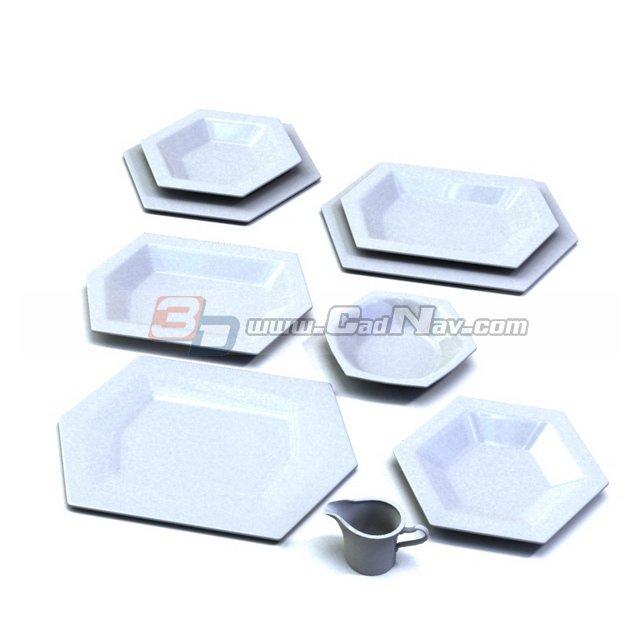 Hexagonal ceramic plates set 3d rendering