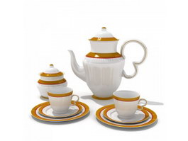 Gold plated porcelain coffee set 3d preview