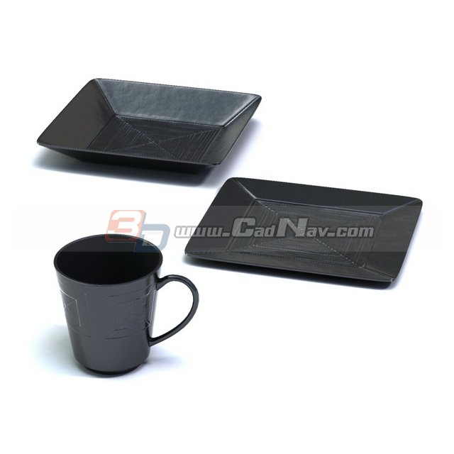 Plastic Cup and dessert plates 3d rendering