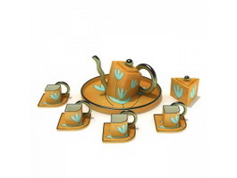 Ceramic pot and cup and saucer coffee set 3d preview