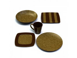 Dinner plates set and cup 3d preview