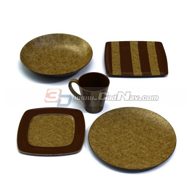 Dinner plates set and cup 3d rendering