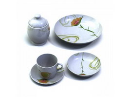 Porcelain sugar pot, dessert plate, cup and saucer 3d preview