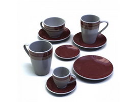 Stoneware Coffee Cups and Saucers Sets 3d model preview