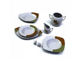 Color glaze dinnerware dishes plate 3d preview