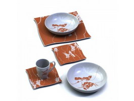 Restaurant stoneware plates dishes 3d model preview