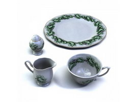 Porcelain breakfast plate with milk jar 3d preview