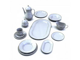 Ceramic dinnerware set for restaurant 3d preview