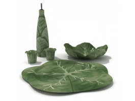 Stoneware Meat Plate Round-edge and Water Bottle 3d preview