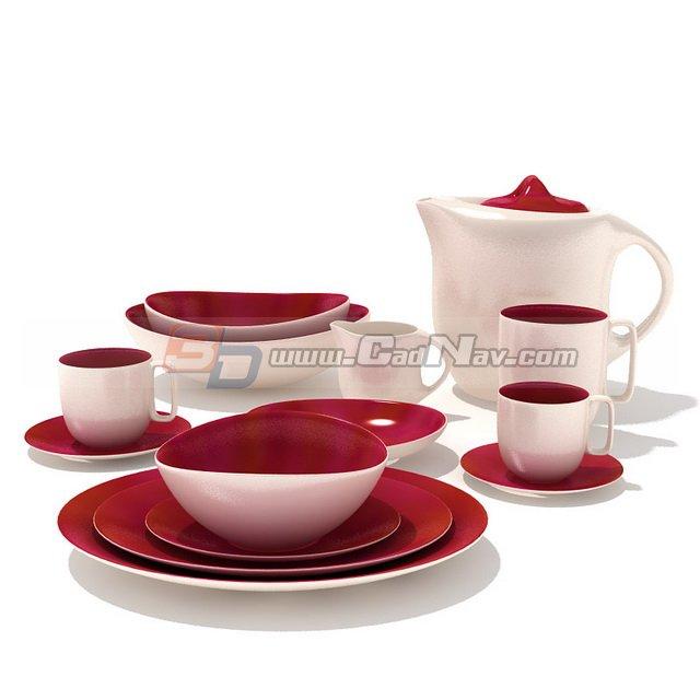 Ceramic tableware dinner set 3d rendering