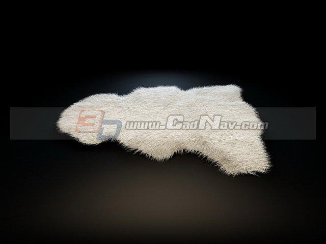 Sheepskin leather rug 3d rendering
