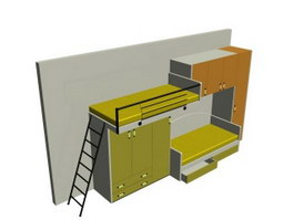 School Furniture Dormitory Beds and Wardrobes 3d preview