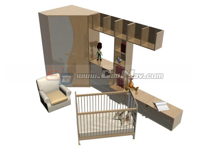 Baby Room Furniture sets 3d rendering