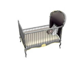 Steel baby cot 3d preview