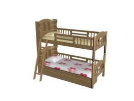Children room wood bunk bed 3d preview