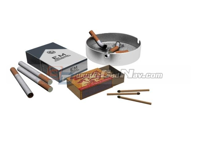Cigarette, match and ashtray 3d rendering