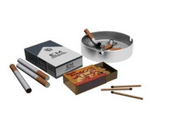 Cigarette, match and ashtray 3d preview
