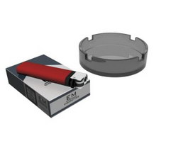 Cigarette,lighter and glass ashtray 3d preview