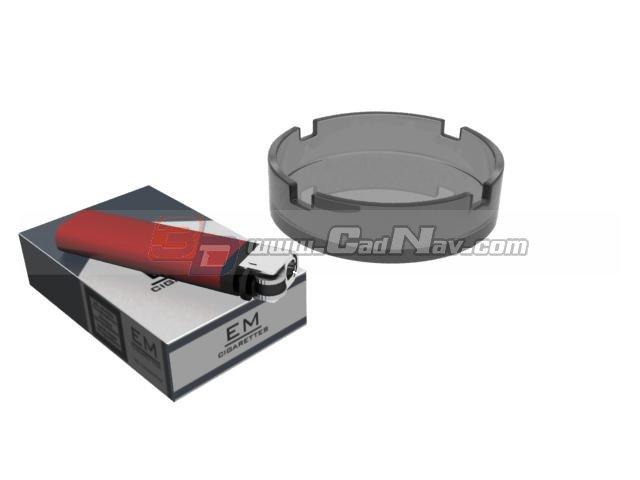 Cigarette,lighter and glass ashtray 3d rendering