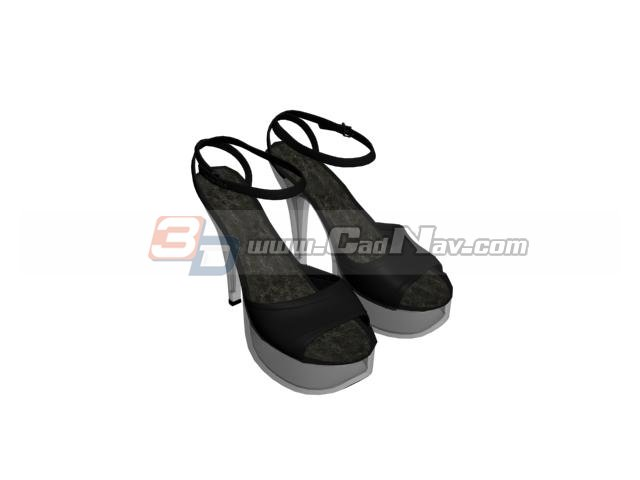 Buckle stiletto high heels woman sandals 3d rendering