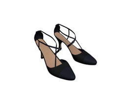 High heels women leather shoes 3d preview