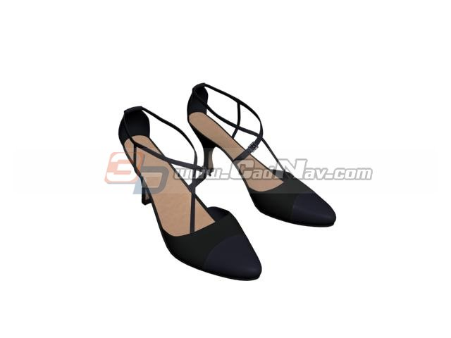 High heels women leather shoes 3d rendering