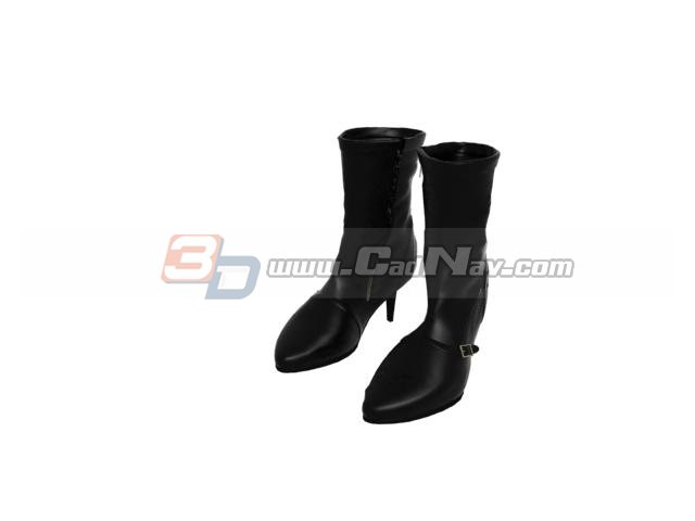 Lady high heel leather boots 3d rendering