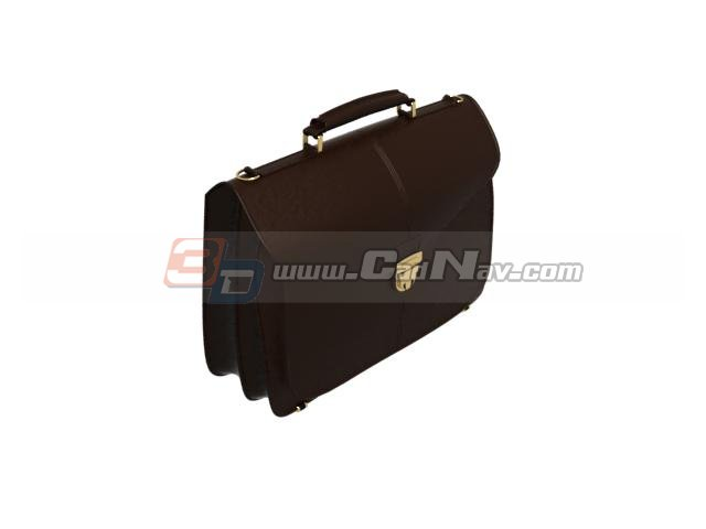 Brown leather briefcase 3d rendering