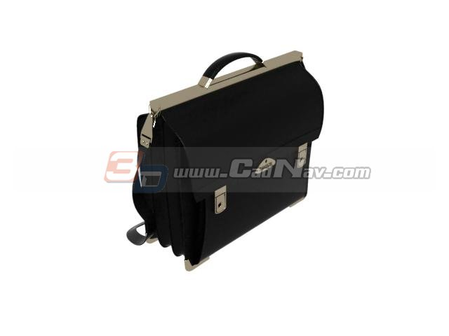 Fashion leather briefcase 3d rendering