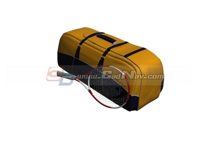 Tennis Sports Bag and tennis racket 3d rendering