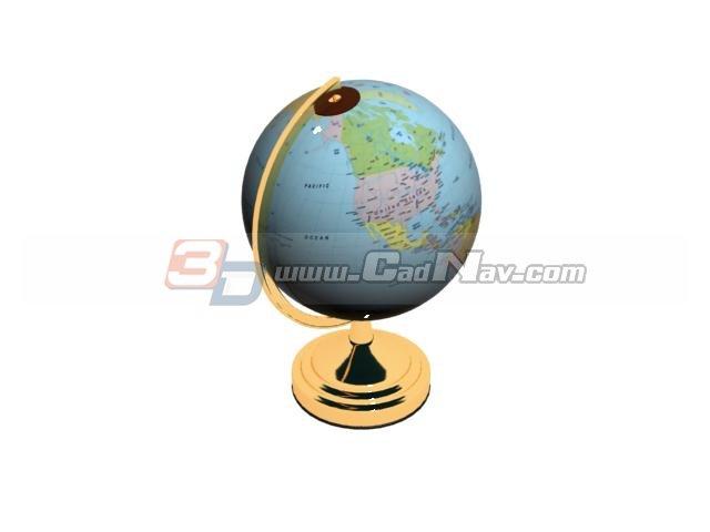 Office world globe 3d rendering