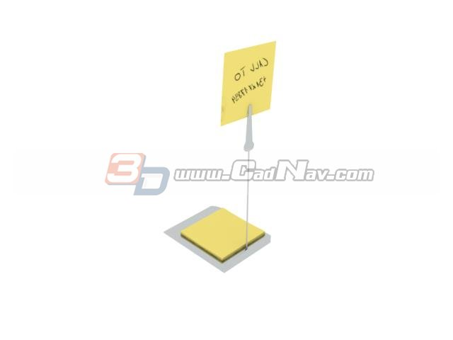 Memo Pad and note holder clip 3d rendering