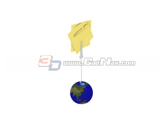 Earth globe wire note memo holder clip 3d rendering