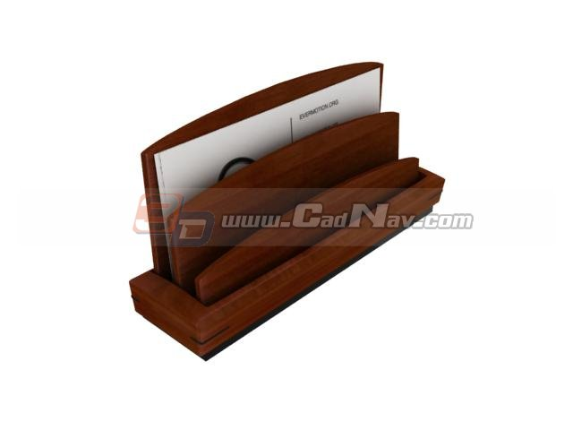 Desk Wooden Letter Holder 3d rendering