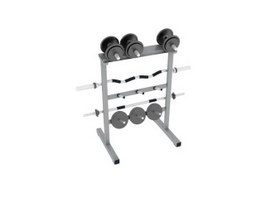 GYM barbell rack, Barbell Weight Plate and dumbbell 3d model preview