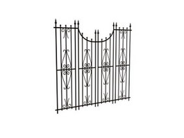 Garden iron gate 3d model preview