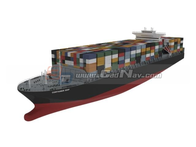 Container bulk ship 3d rendering